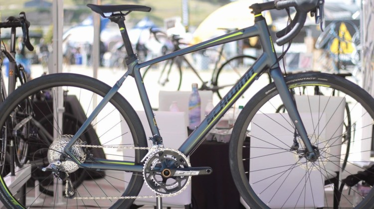The $1,518 Schwinn Vantage RX1 has a unique elastomer-based dampening system and room for wide tires. Schwinn Vantage RX1 Gravel Bike. 2018 Sea Otter Classic. © Cyclocross Magazine