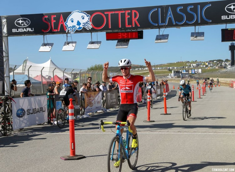 Lance Haidet celebrates his win in the Men's race. 2018 Sea Otter Classic Cyclocross Race, Pro Men and Women. © J. Silva / Cyclocross Magazine