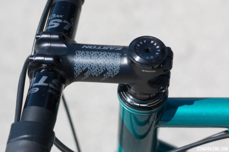 An EA70 stem and EA70 AX flared handlebar rounded out the demo bike. 2018 Sea Otter Classic cyclocross and gravel new products. © Cyclocross Magazine