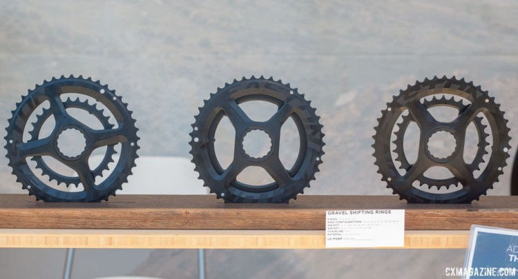 Easton's new cyclocross and Gravel Shift Rings come in 32/47, 36/46 and 30/46 combinations. Direct mount for its Cinch-based Easton and Race Face cranksets. 2018 Sea Otter Classic cyclocross and gravel new products. © Cyclocross Magazine
