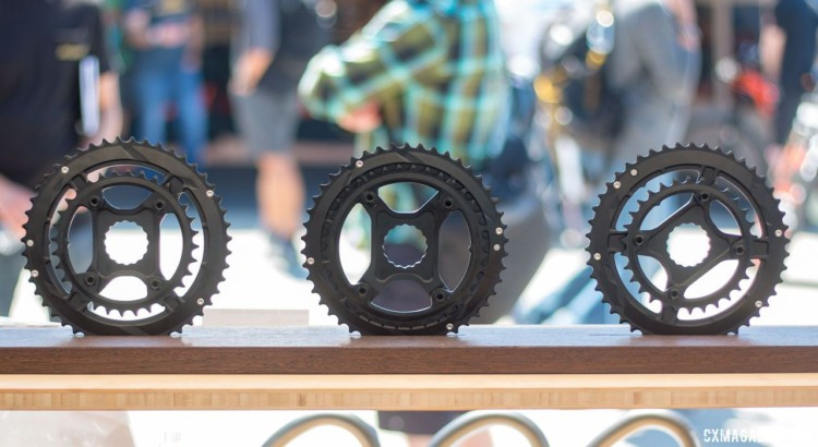 Easton's new cyclocross and Gravel Shift Rings come in 47/32t, 46/36t and 46/30t combinations. Direct mount for its Cinch-based Easton and Race Face cranksets. 2018 Sea Otter Classic cyclocross and gravel new products. © Cyclocross Magazine