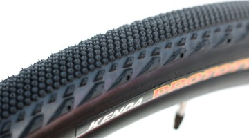 Kenda's new Alluvium tire has two rows of side knobs along with a smooter-rolling center. Kenda Alluvium Gravel Tire. © Cyclocross Magazine