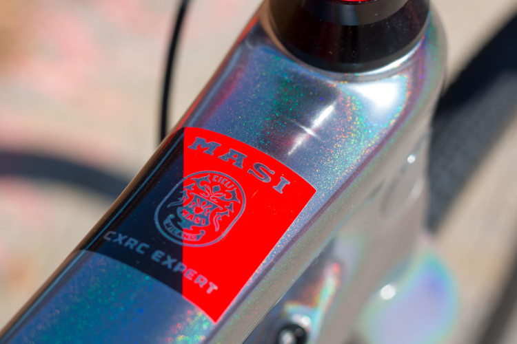 Masi Bikes carbon CXRC Expert returns with the same solar chrome color scheme but updated componentry. 2018 Sea Otter Classic cyclocross and gravel new products. © Cyclocross Magazine