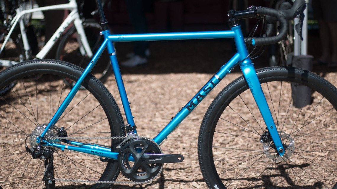 The Masi Bikes steel CXGR Supremo moves from Ultegra to 105 R7000 for 2019. 2018 Sea Otter Classic cyclocross and gravel new products. © Cyclocross Magazine