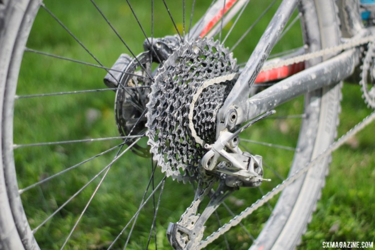 The Epic uses SRAM's 12-speed shifting and fits a 10-50t rear cassette. Rob Chose's Almanzo 100 Specialized Epic. © Cyclocross Magazine