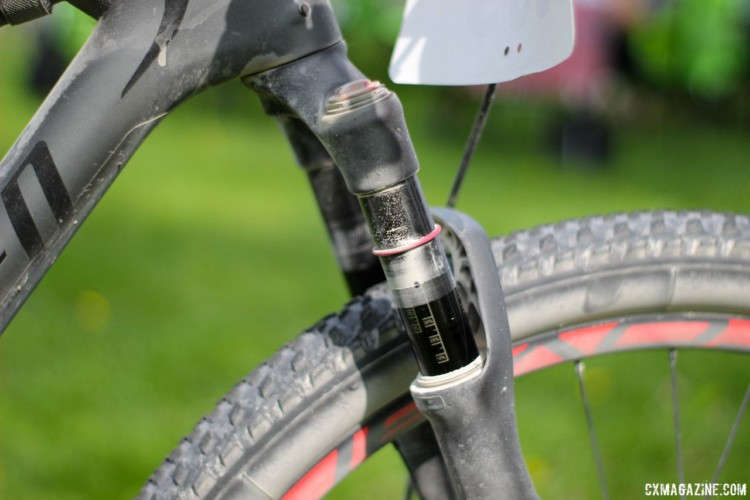 A Rock Shox suspension fork provided Chose with 100mm of travel over the rough gravel. Rob Chose's Almanzo 100 Specialized Epic. © Cyclocross Magazine