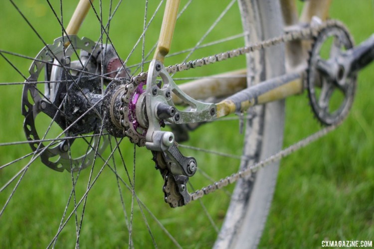 The Minnesotan used a Paul Components chain tensioner to convert the geared bike to a single speed. Angus Morison's Almanzo 100 Waltworks Custom Steel 29er Hardtail. © Cyclocross Magazine