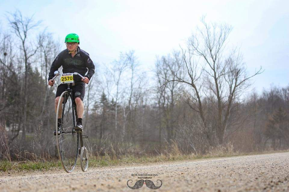 Jeff Jacobi did the 2018 Barry-Roubaix on a Penny Farthing. © Rob Meendering