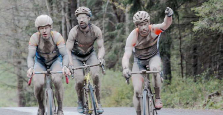Kevan Edwards, Matt Smitley and Jake Castor in the chase group. 2018 Finger Lakes Gravel Grinder. photo: Tony Sylor