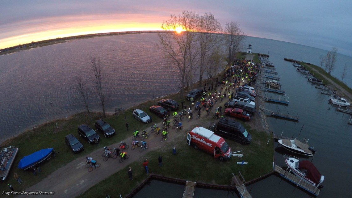 The Coast to Coast race started with a Lake Huron sunrise. photo: Andy Klevorn/Singletrack Showdown