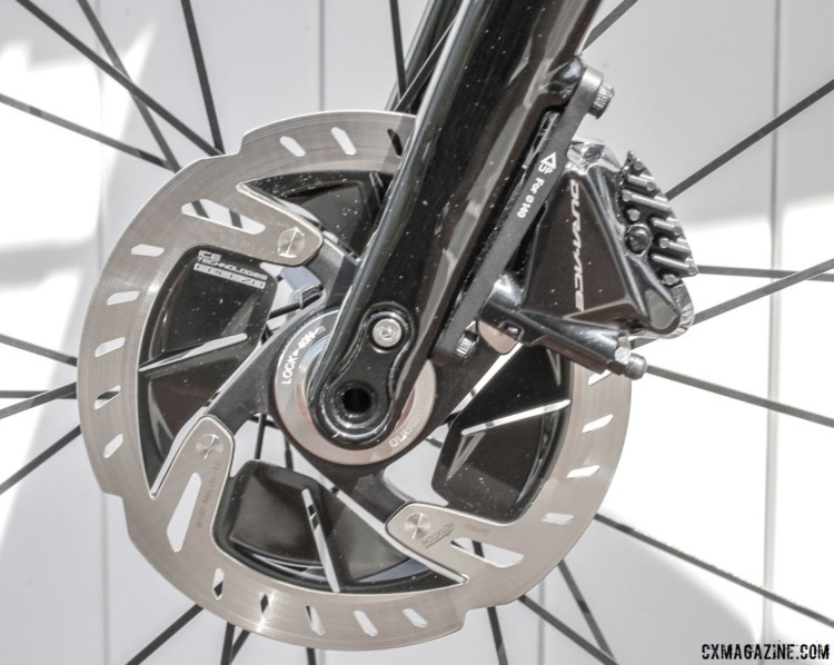 One big difference between the Alfa road bike and Alfa Allroad is the latter's Dura-Ace flat mount disc brakes. Almanzo 100 Allied Alfa Allroad. © Cyclocross Magazine