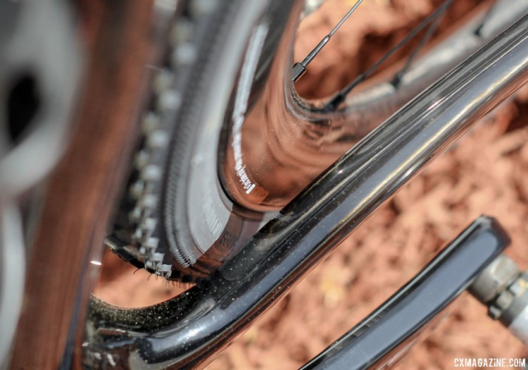 Allied claims clearance for 38mm tires. The author's bike had 33mm tubeless Vittoria Terreno Mix tires mounted. Almanzo 100 Allied Alfa Allroad. © Cyclocross Magazine