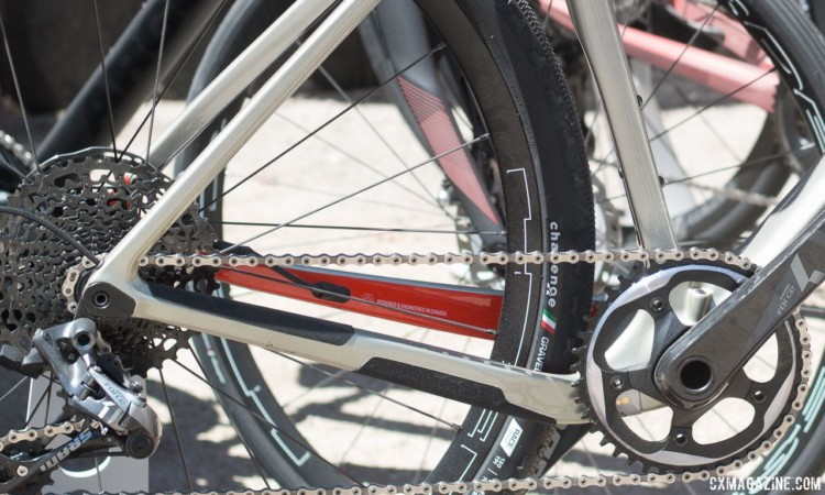 Dropped drive side chainstays are somewhat of a trend right now, but are a first for Argon 18. © Cyclocross Magazine