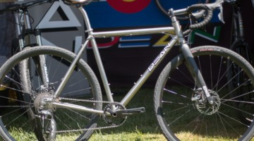 Dean Bikes was showing off this custom gravel bike available for sale. The bike features sliding Paragon Machine Works dropouts and a titanium seat post. 2018 Sea Otter Classic cyclocross and gravel new products. © Cyclocross Magazine