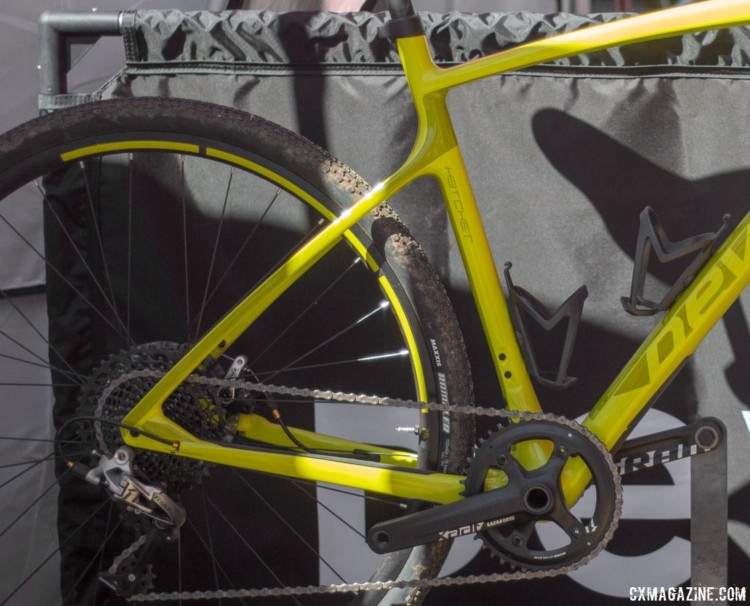The Maxxis Rambler tires at 40mm wide max out the clearance on the Hatchet. © Cyclocross Magazine