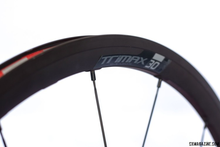 The Vision TriMax KB TL 30 wheelset comes in a disc tubeless version. The 17mm internal wide alloy rim is 28mm deep and a set weighs 1590g. 2018 Sea Otter Classic cyclocross and gravel new products. © Cyclocross Magazine