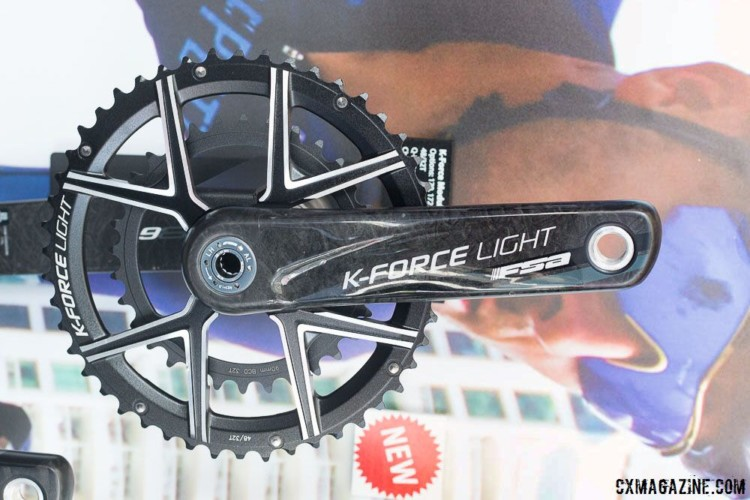 FSA is pushing its adventure gearing crankset options, with several levels of 46/30 and 48/32 options, including the top-of-the-line K-Force Light. 2018 Sea Otter Classic cyclocross and gravel new products. © Cyclocross Magazine