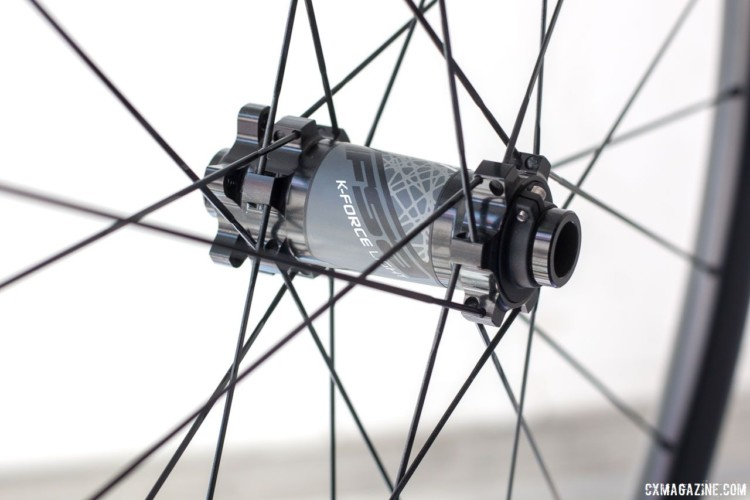 FSA has new K-Force Light AGX tubeless disc wheels that feature a 21.5mm internal wide rim and weigh 1465g. Boost spacing is available for mountain bikes. 2018 Sea Otter Classic cyclocross and gravel new products. © Cyclocross Magazine