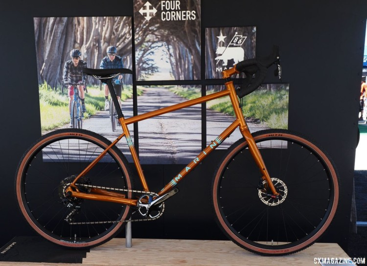 The Marin Four Corners is a versatile gravel and touring bike, and now features taller head tubes for a more upright position to see the sights. 2018 Sea Otter Classic cyclocross and gravel new products. © Cyclocross Magazine