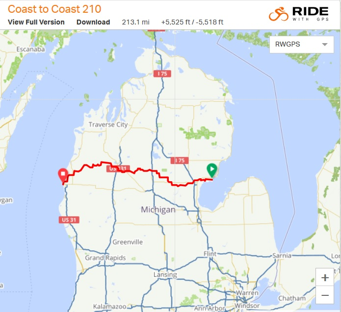 The race covered Michigan's Lower Peninsula from East to West. photo: ridewithgps.com