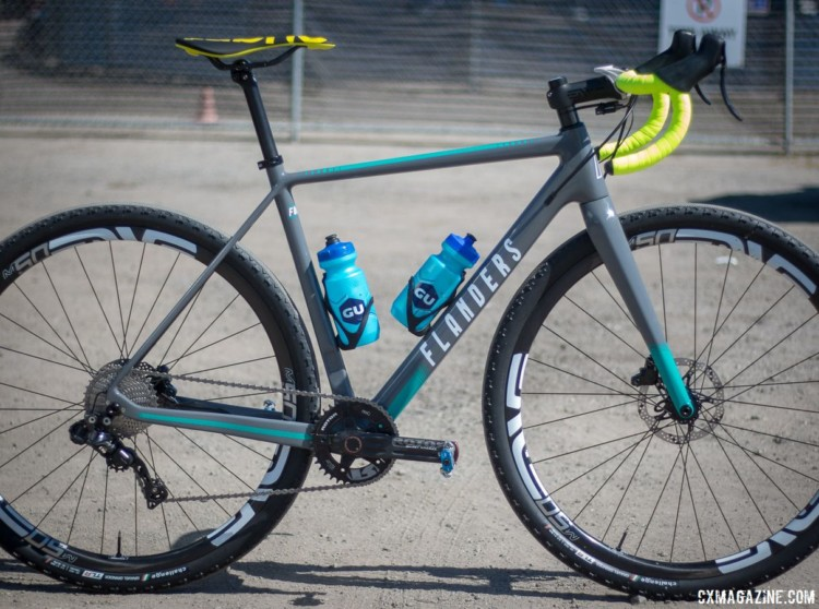 Molly Cameron had her Flanders Focus cyclocross bike outfitted with new Challenge tubeless tires and a 1x Shimano Di2 drivetrain. Molly Cameron's Flanders cyclocross bike. 2018 Sea Otter Classic cyclocross and gravel new products. © Cyclocross Magazine