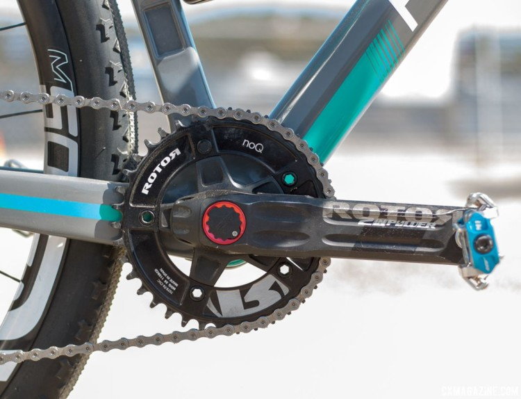 Rotor's 2 In Power crankset provides two-sided power measurements from the spindle. Molly Cameron's Flanders cyclocross bike. 2018 Sea Otter Classic cyclocross and gravel new products. © Cyclocross Magazine