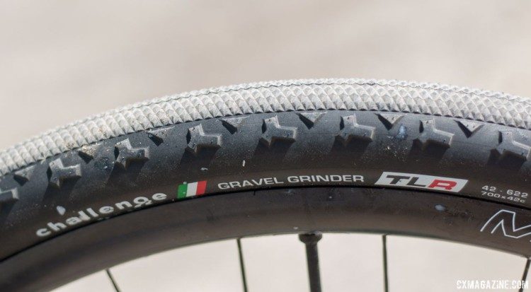 Tubeless-ready Challenge tires were new at Sea Otter. So new, in fact, that fresh sealant can still be seen on the sidewall of Cameron's tire. Molly Cameron's Flanders cyclocross bike. 2018 Sea Otter Classic cyclocross and gravel new products. © Cyclocross Magazine