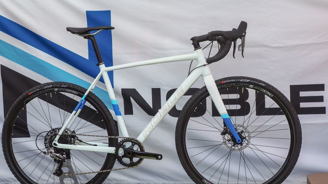 Noble's cyclocross bike is the alloy CX3 that comes with 160mm flat mount rotors and Stan's Grail tubeless wheels. Noble Bikes Cyclocross and Gravel Bikes. 2018 Sea Otter Classic. © Cyclocross Magazine