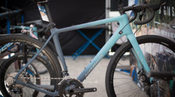 The Norco Search XR Ultegra gravel bike is 700c and 650b compatible and has a lot of tire clearance. 2018 Sea Otter Classic cyclocross and gravel new products. © Cyclocross Magazine
