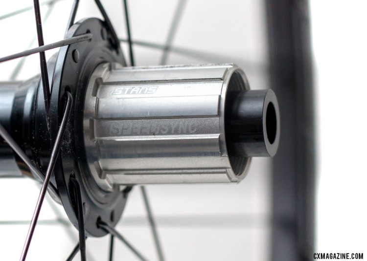 The SpeedSync hubs offer 5 degrees of engagement. Stan's NoTubes Grail CB7 carbon tubeless wheelset for gravel and cx. © Cyclocross Magazine