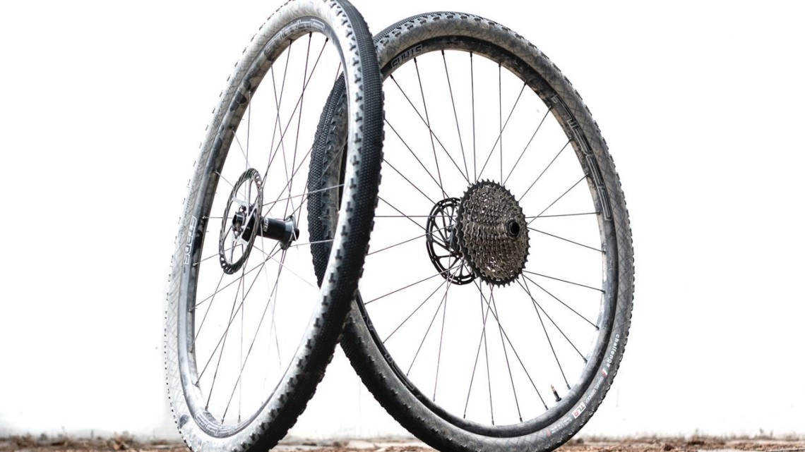 Stan's NoTubes Grail CB7 carbon tubeless wheelset with Challenge Tires' new Gravel Grinder TLR 42mm tires. © Cyclocross Magazine