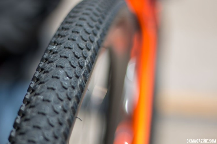 Origin8 offers its Wildfire CX and Gravel tires. The tread comes in 33, 35, 38 and 40mm widths, and sure looks a lot like the Panaracer Comet to us. 2018 Sea Otter Classic cyclocross and gravel new products. © Cyclocross Magazine
