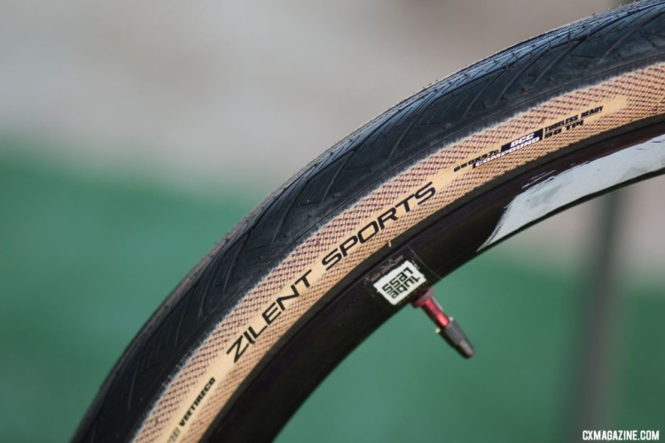 Vee Tires' new Zilent Sports 650b x 47mm road plus tanwall tubeless tire. 2018 Sea Otter Classic cyclocross and gravel new products. © Cyclocross Magazine