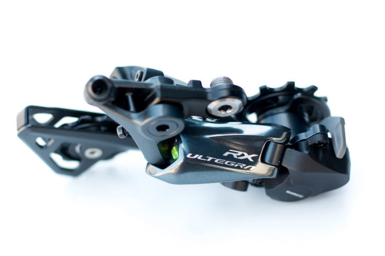 The new RX derailleur has the Shadow tech low profile. Shimano's new RX800 Ultegra clutch-based rear derailleur. © Cyclocross Magazine