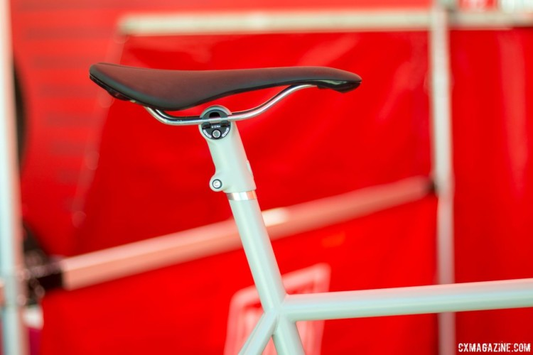 Speedvagen designs its bikes for zero offset seatmasts, which results in a slightly slacker than usual seat tube. © Cyclocross Magazine