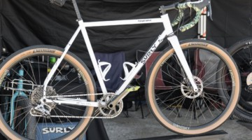Surly displayed a custom build of its new $1,800 Midnight Special Road Plus bike. Surly Midnight Special Road Plus Bike. 2018 Sea Otter Classic. © C. Lee / Cyclocross Magazine