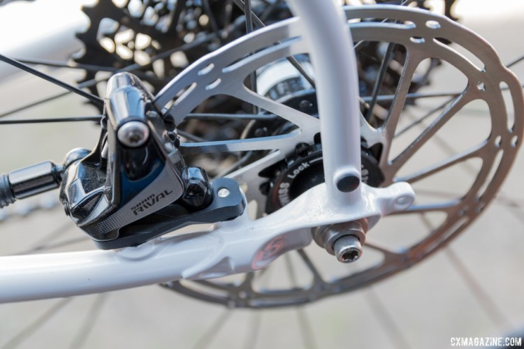 The steel frame has a flat mount disc brake at the rear lugged dropout. Surly Midnight Special Road Plus Bike. 2018 Sea Otter Classic. © C. Lee / Cyclocross Magazine