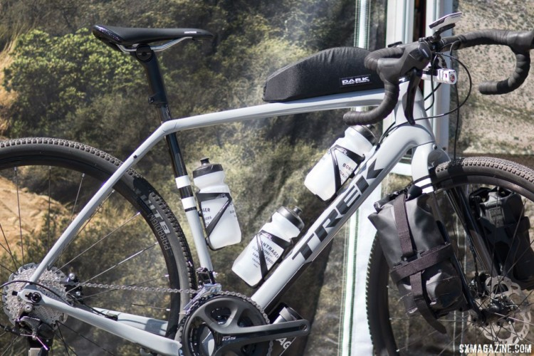 Trek's Checkpoint features an impressive four bottle cage mounts in addition to rack eyelets on the seat stays. © Cyclocross Magazine