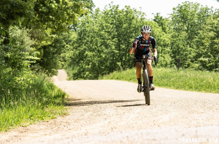 Kae Takeshita has traveled across the Midwest to race this year. Illinois' 2018 Ten Thousand Gravel Ride. © DREIBELBIS + FAIRWEATHER