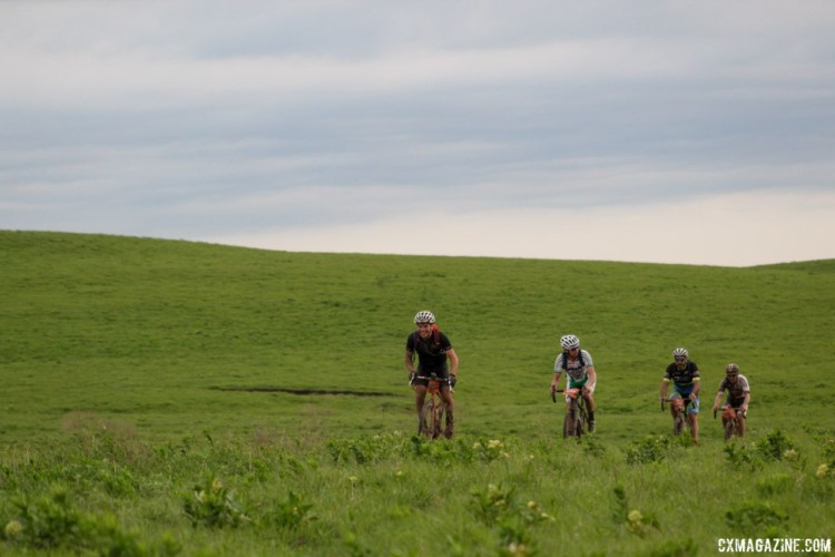 The Flint Hills are very green in parts, providing a pretty background for the first quarter of the course. 2018 Dirty Kanza 200. © Z. Schuster / Cyclocross Magazine