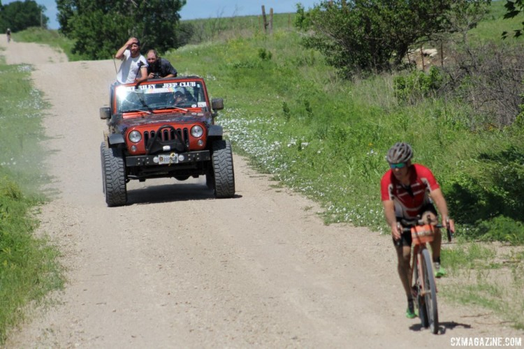 The local Jeep club provided riders for some race photographers. 2018 Dirty Kanza 200. © Z. Schuster / Cyclocross Magazine