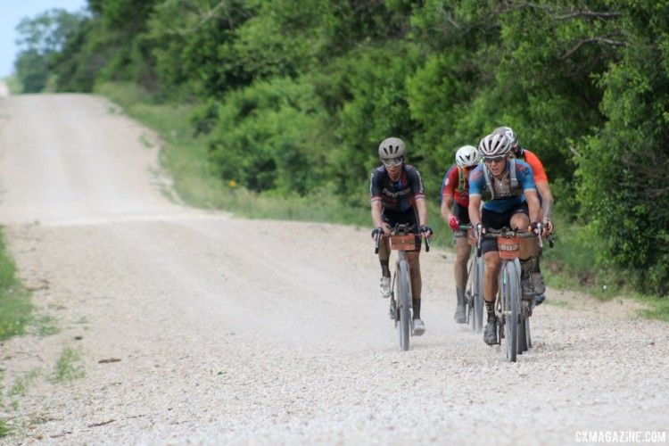 Things in the lead group broke apart after the second checkpoint. This group chased the leaders. 2018 Dirty Kanza 200. © Z. Schuster / Cyclocross Magazine