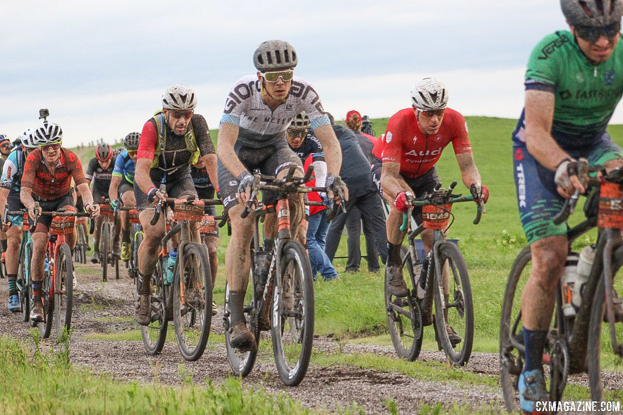 Tubbs (in red Audi kit) was with the leaders early in the race. 2018 Dirty Kanza 200. © Z. Schuster / Cyclocross Magazine