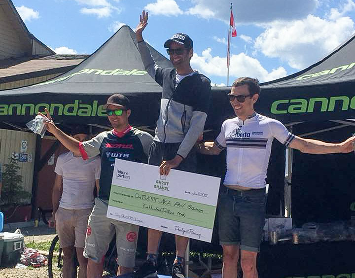 Men's podium: Phil Gaimon, Andrew Davidson and Cory Wallace. 2018 Ghost of the Gravel. photo: Ghost of the Gravel