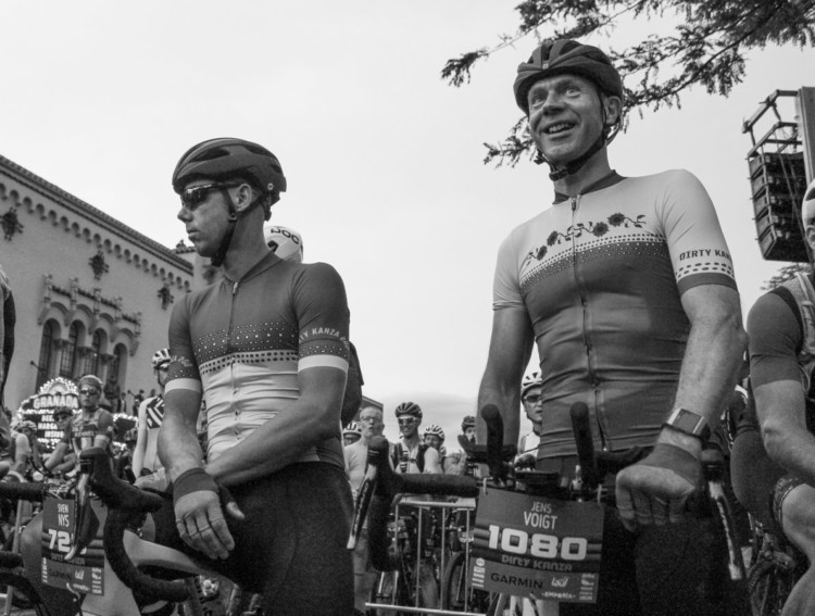 Sven Nys and Jens Voigt wait to tackle their first Dirty Kanza 200. 2018 Men's Dirty Kanza 200. © Z. Schuster / Cyclocross Magazine