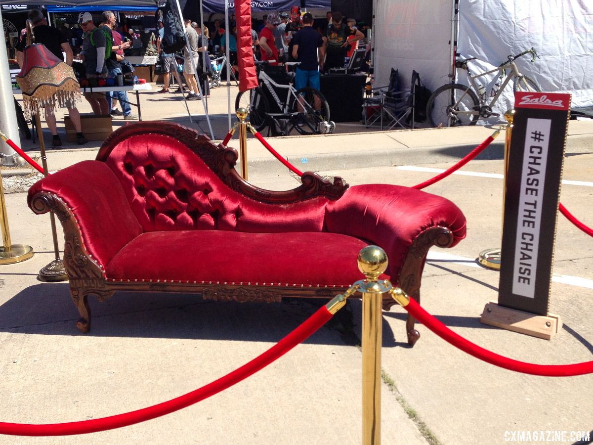 The Chaise lounge had a VIP spot at the 2018 DK expo. 2018 Dirty Kanza 200. © Z. Schuster / Cyclocross Magazine