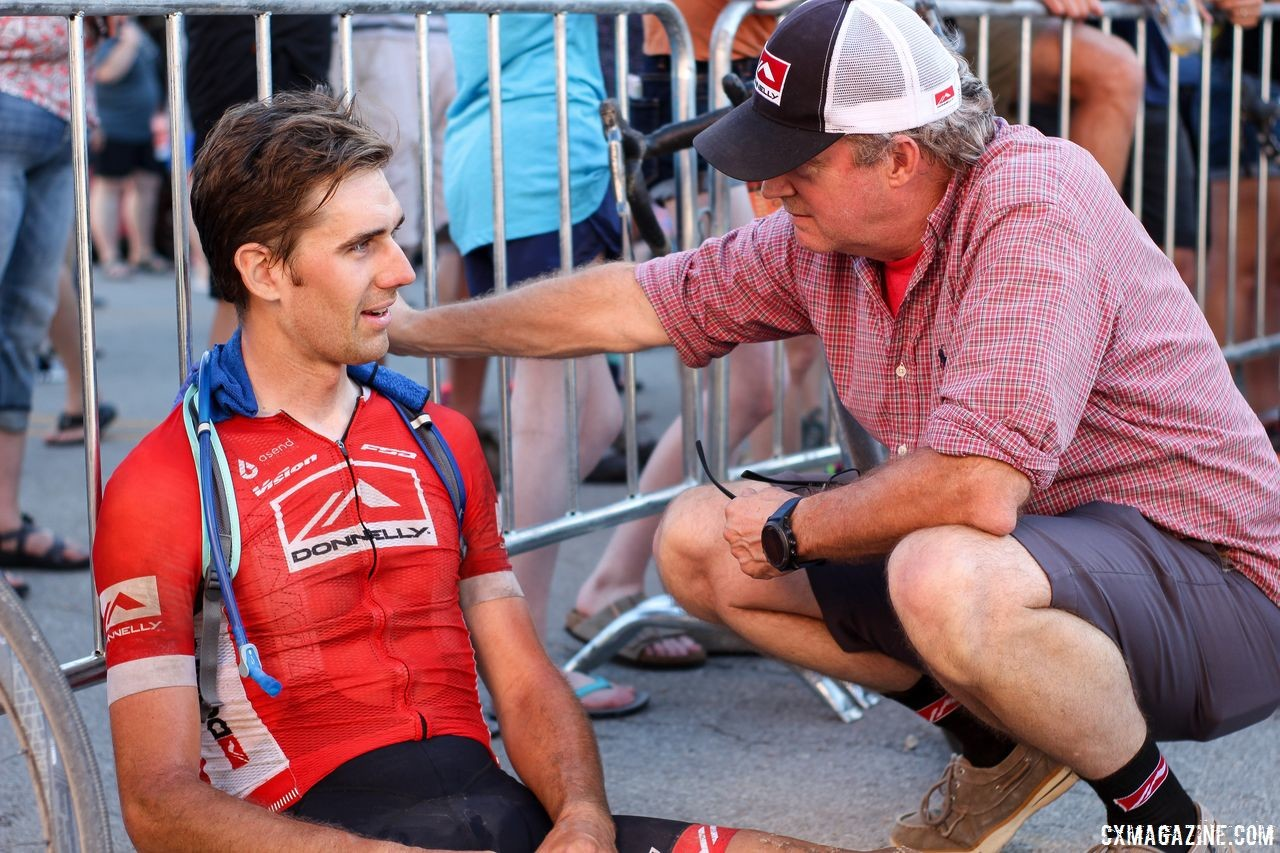 Donnelly owner Donn Kellogg talks to Jamey Driscoll after his 206-mile race. 2018 Dirty Kanza 200. © Z. Schuster / Cyclocross Magazine