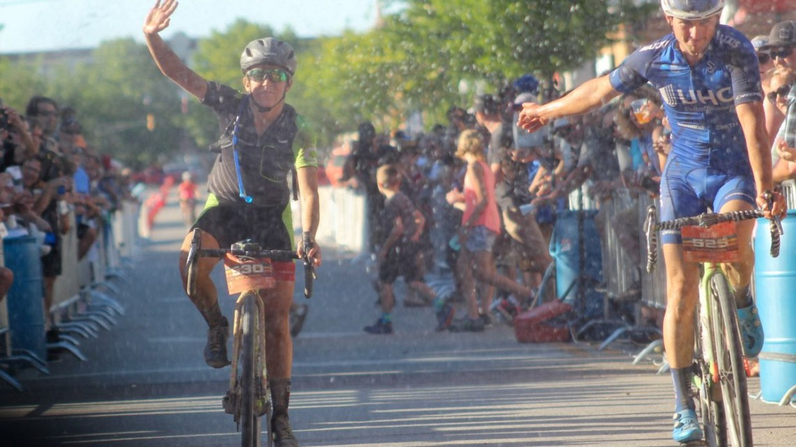 Luke Keough helps Kaitie celebrate her Dirty Kanza 200 win. 2018 Women's Dirty Kanza 200. © Z. Schuster / Cyclocross Magazine