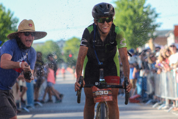 Getting to cross the line as the Queen of Dirty Kanza is something more and more current and former pros are aspiring to do. © Cyclocross Magazine