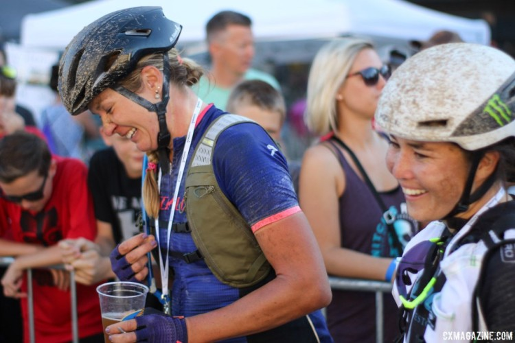 Alison Tetrick and Amanda Nauman share a laugh after their race. 2018 Women's Dirty Kanza 200. © Z. Schuster / Cyclocross Magazine